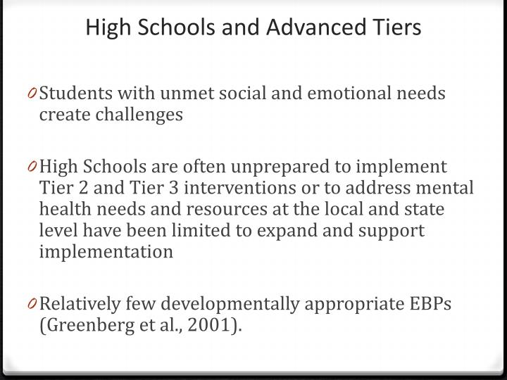 High Schools and Advanced Tiers