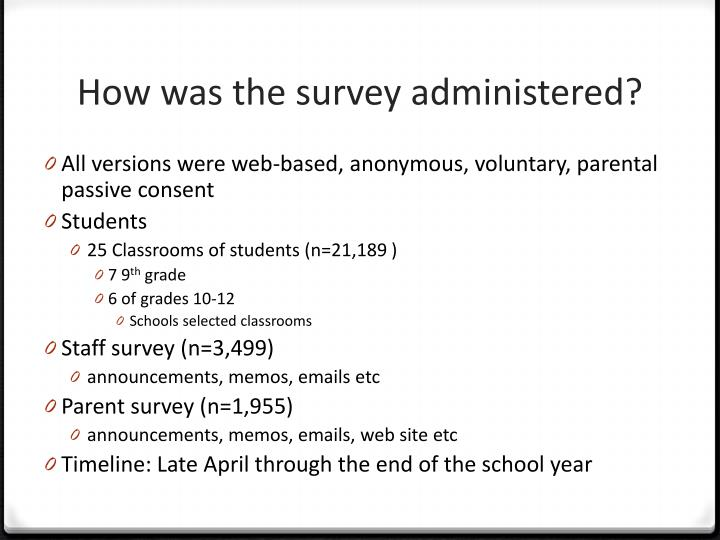 How was the survey administered?