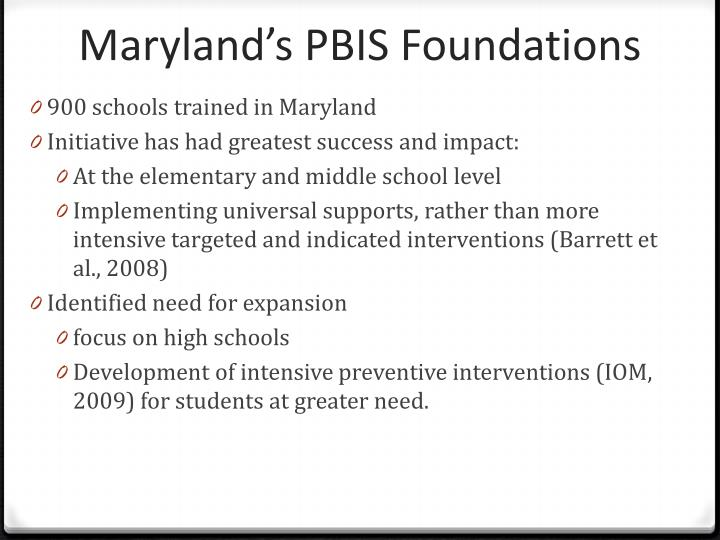 Maryland s pbis foundations