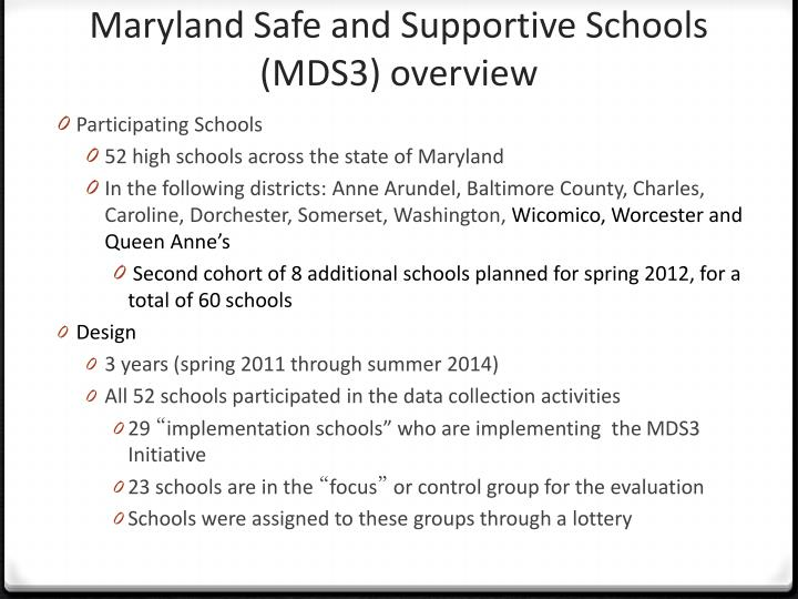 Maryland Safe and Supportive Schools (MDS3) overview