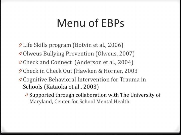 Menu of EBPs