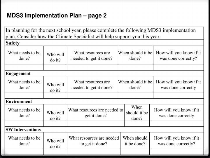 MDS3 Implementation Plan – page 2