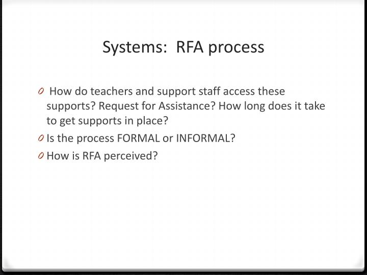 Systems:  RFA
