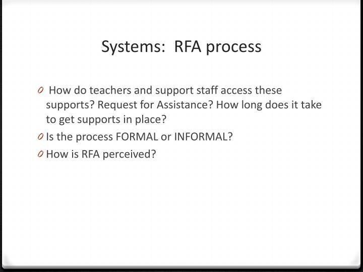 Systems:  RFA