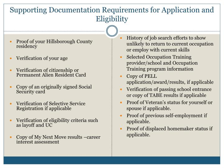 Supporting Documentation Requirements for Application and Eligibility