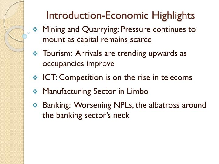 Introduction economic highlights1