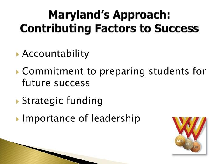 Maryland's Approach: Contributing Factors to Success