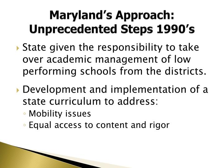 Maryland's Approach: Unprecedented Steps 1990's