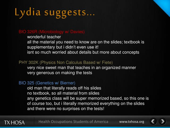 Lydia suggests...