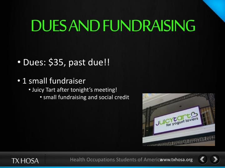 DUES AND FUNDRAISING