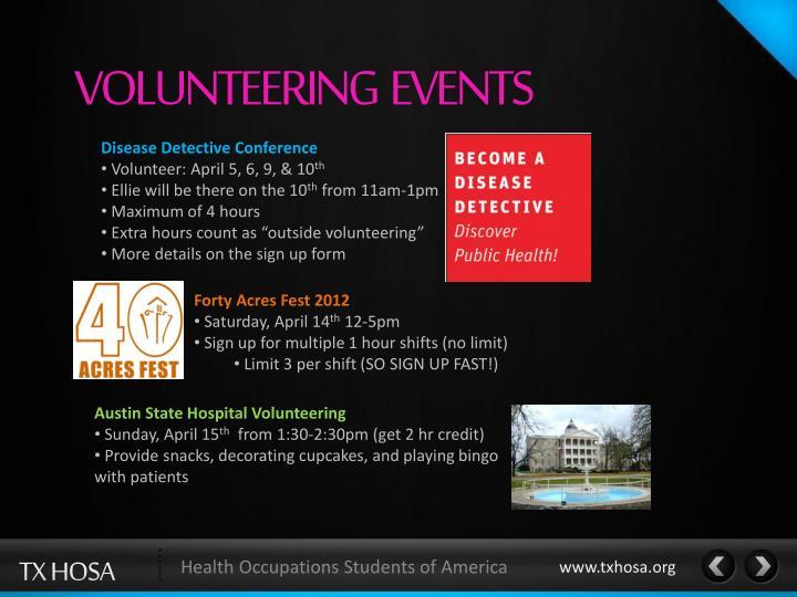 VOLUNTEERING  EVENTS