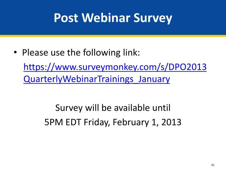 Post Webinar Survey
