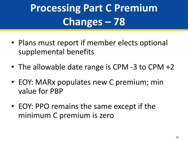 Processing Part C Premium