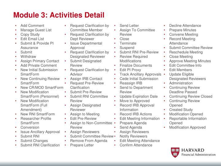 Module 3: Activities Detail