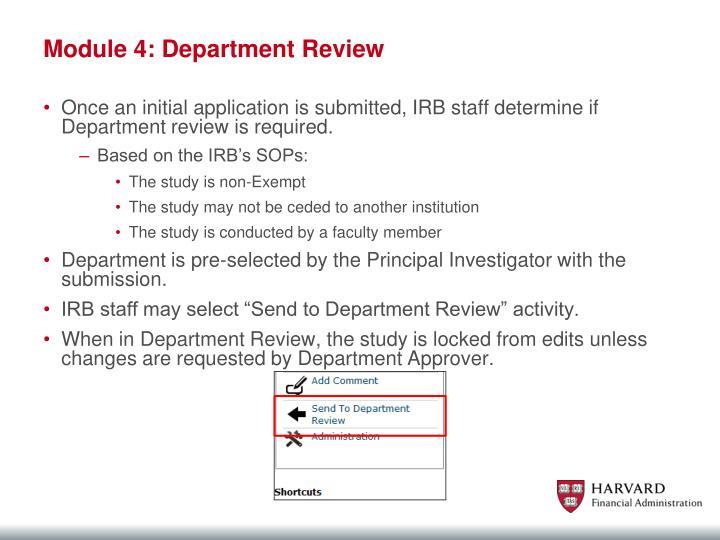 Module 4: Department Review