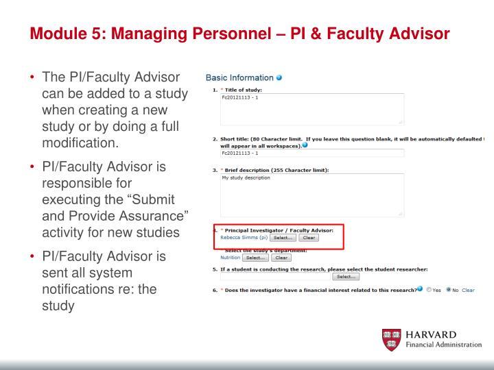 Module 5: Managing Personnel –
