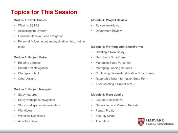 Topics for This Session