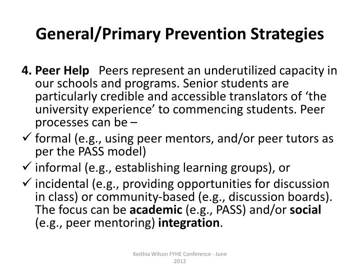 General/Primary Prevention Strategies