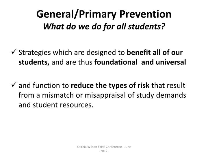 General/Primary Prevention