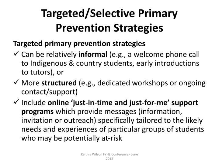 Targeted/Selective Primary Prevention Strategies