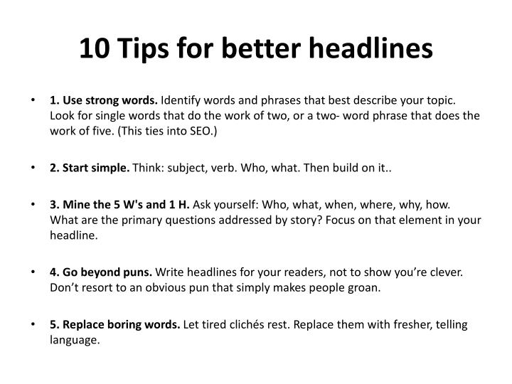 10 Tips for better headlines