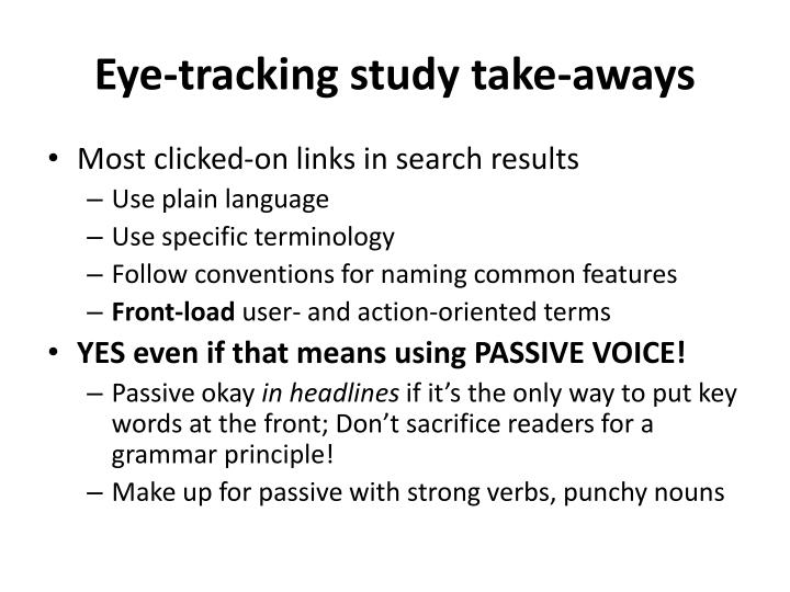 Eye-tracking study take-