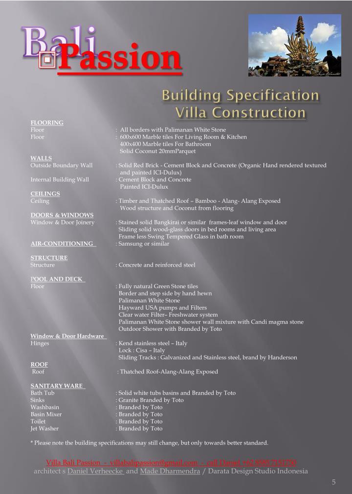 Building Specification Villa Construction