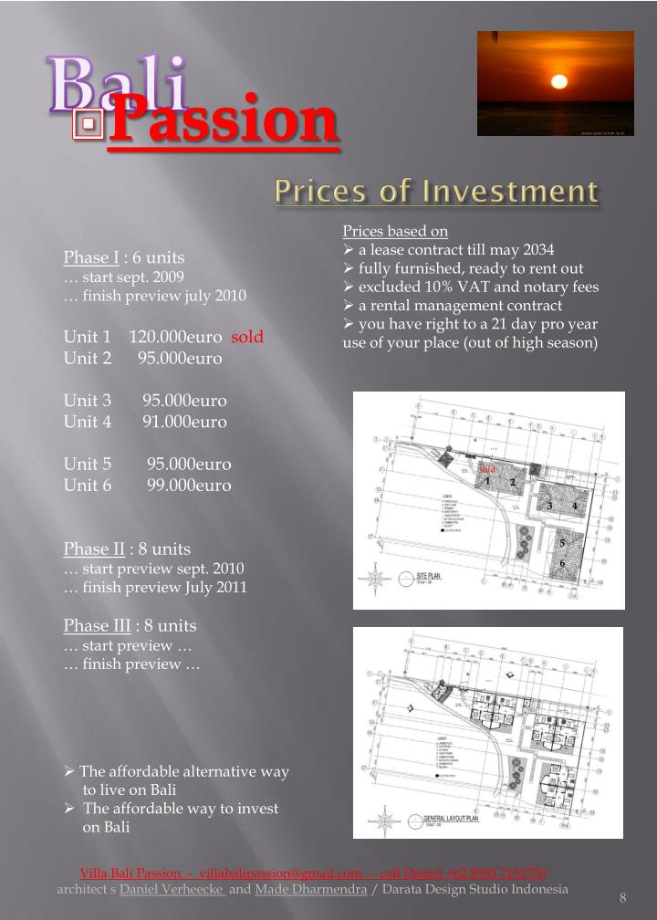 Prices of Investment