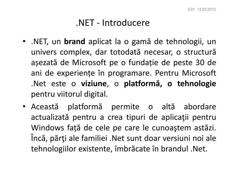 .NET - Introducere