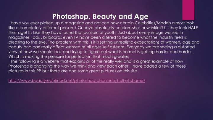 Photoshop, Beauty and Age