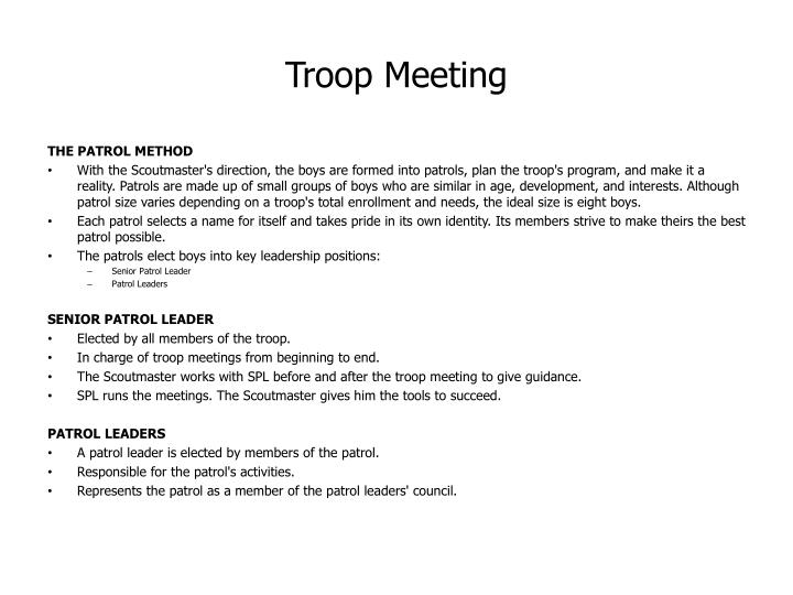 Troop Meeting