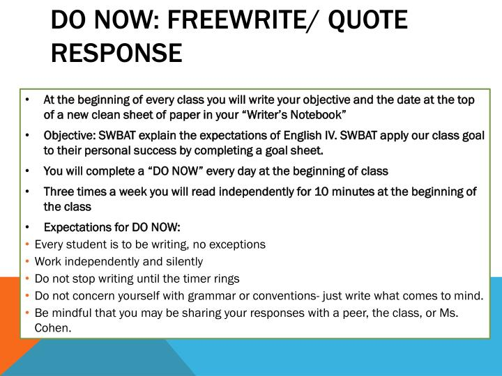 Do now freewrite quote response