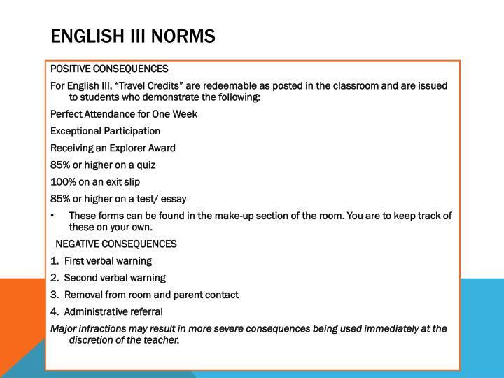 English iii Norms