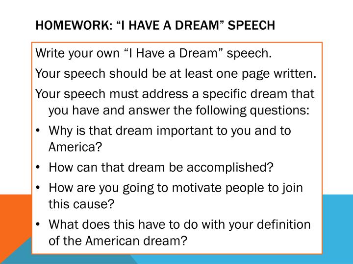 "Homework: ""I Have A DREAM"" SPEECH"