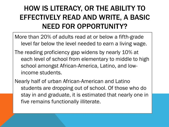 How is literacy, or the ability to effectively read and write, a basic need for opportunity?