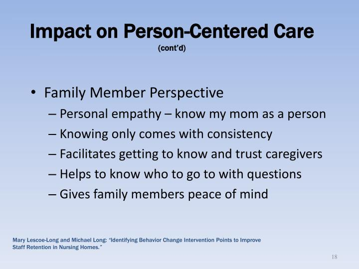 Impact on Person-Centered Care