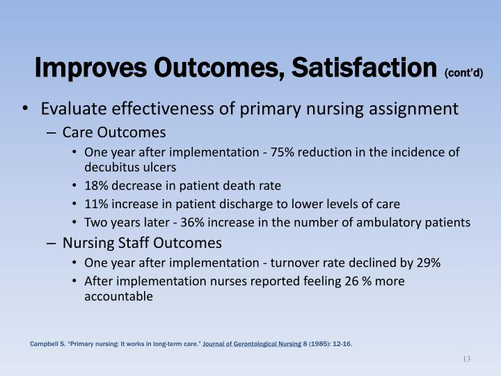 Improves Outcomes, Satisfaction