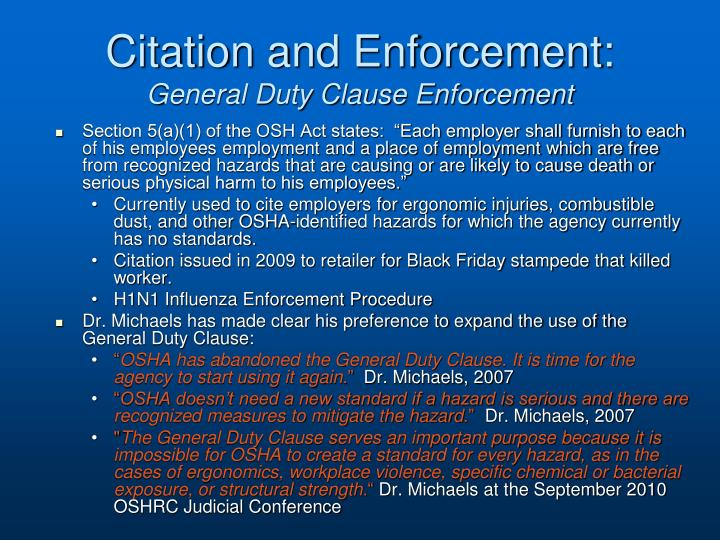 Citation and Enforcement: