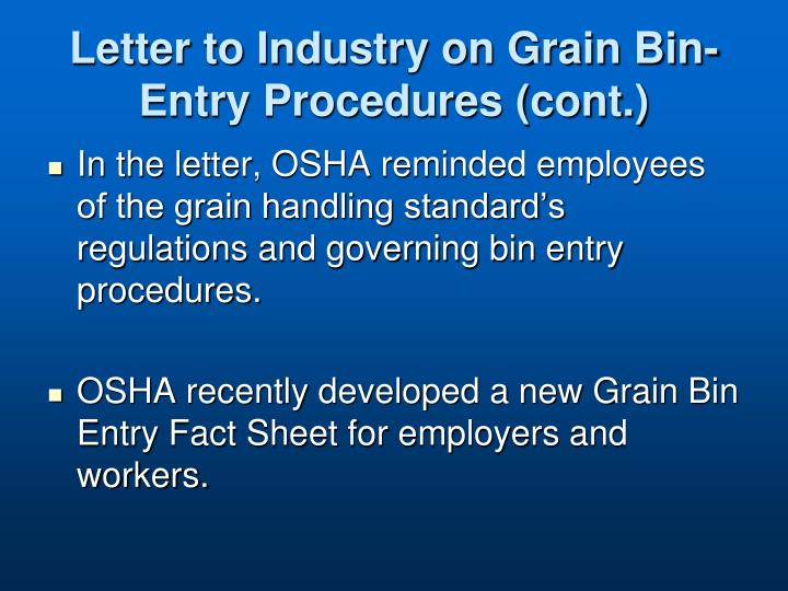 Letter to Industry on Grain Bin-Entry Procedures (cont.)
