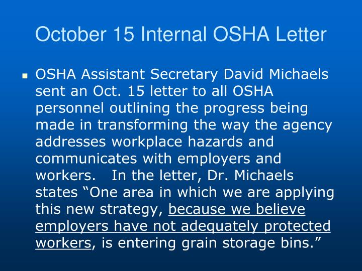 October 15 Internal OSHA Letter