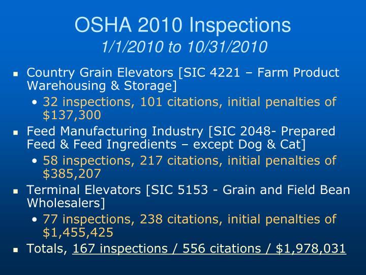 OSHA 2010 Inspections