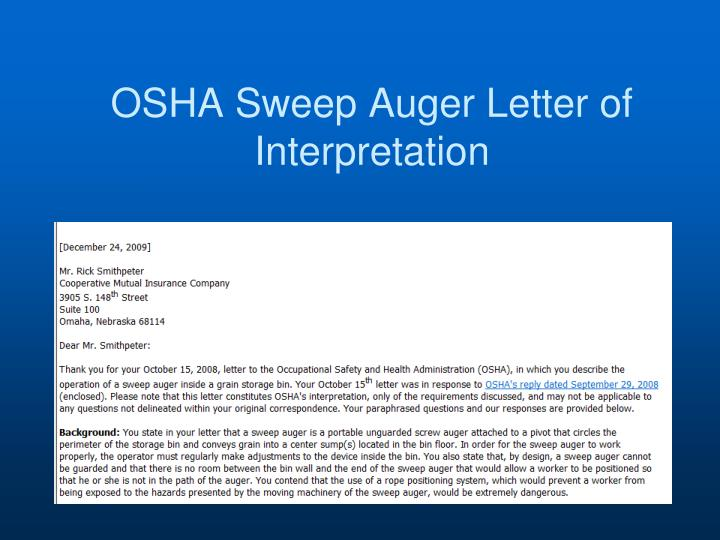 OSHA Sweep Auger Letter of Interpretation