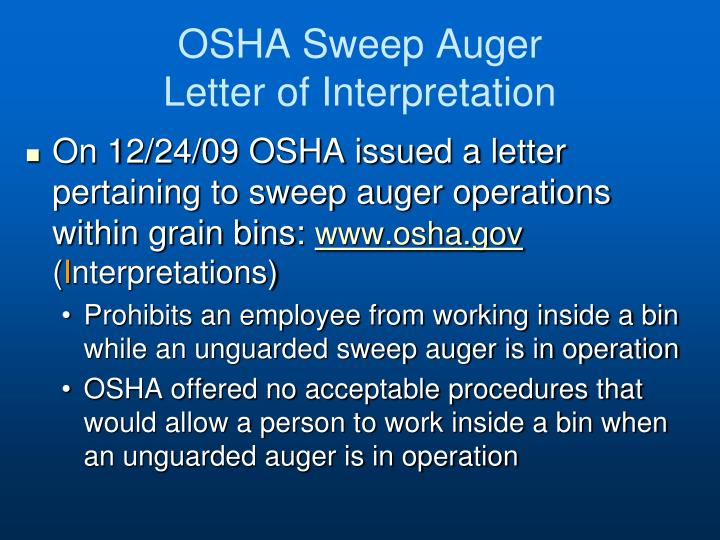 OSHA Sweep Auger