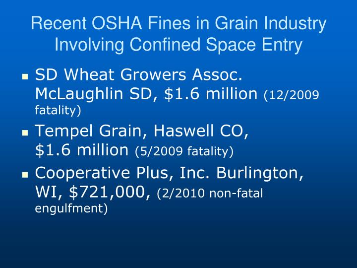 Recent OSHA Fines in Grain Industry