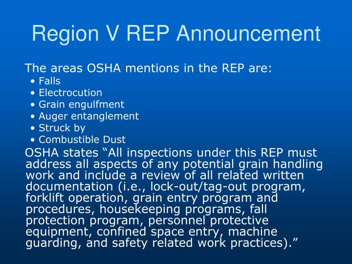 Region V REP Announcement
