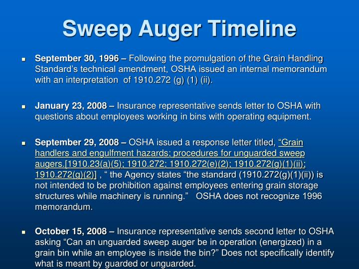 Sweep Auger Timeline