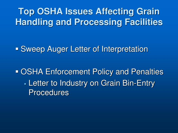 Top osha issues affecting grain handling and processing facilities