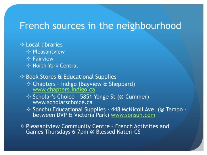 French sources in the
