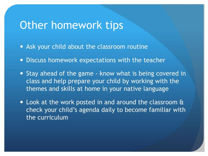 Other homework tips