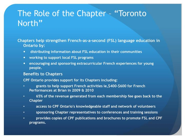 The role of the chapter toronto north